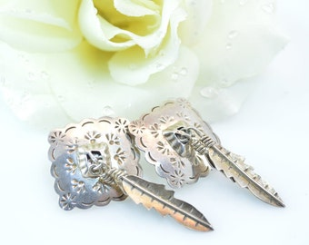 Southwestern Native American Feather Post Earrings Sterling Silver 18.9g Vintage Estate