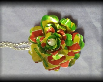Recycled/Upcycled soda can art - Flower necklace pendant