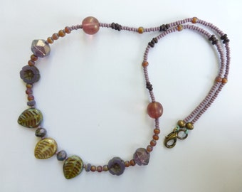 Atmosphere of Provence - handmade necklace, violet, purple, amethyst, green, necklace, czech glass beads with leaves pendant