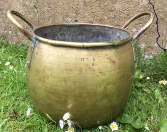 old French brass pot