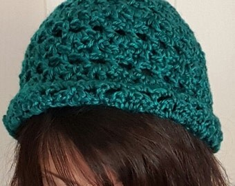 Crochet vintage teal green cloche