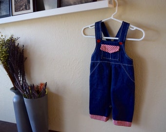Denim and Gingham Kids Overalls