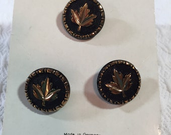 Elegant Vintage Button Set - Copper Maple Leaf, Black Background