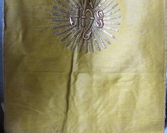 Antique French Religious banner Embroidery Metallic Stumpwork