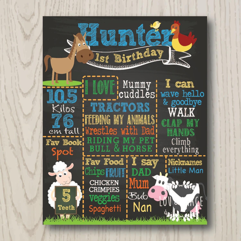 Birthday Board Farm Theme DIGITAL FILE First Birthday