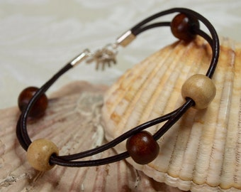 Wood Beads and Leather Bracelet