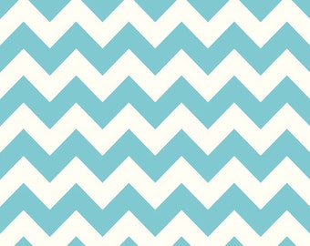 Aqua Chevron Flannel by the Yard - Aqua Chevron Fabric - Zig Zag Blue Fabric - Turquoise Fabric - Aqua Flannel - Riley Blake Desigs F320 20