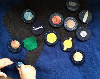 Solar system wood coins, Waldorf and Montessori inspired planet discs, set of 13,    Planets, sun, moon, open ended play, sensory toy