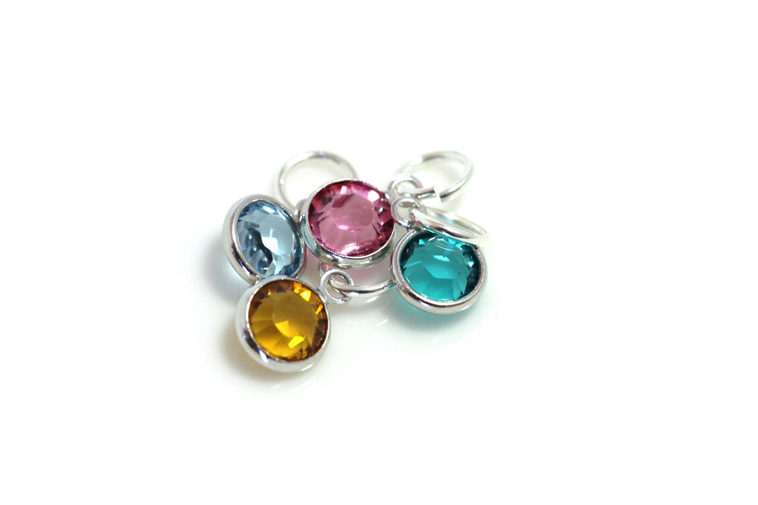 Birthstone charms swarovski crystal charm sterling for Birthstone beads for jewelry making