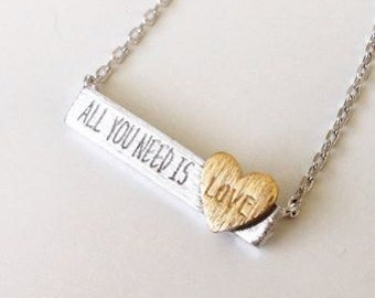 All You Need Is Love Bar Pendant