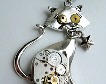 Steampunk Cat necklace, Steampunk Cat pendant, Watch pendant, Watch necklace, Watch Parts pendant, Time necklace
