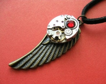 Steampunk wing Watch movement Victorian Clockwork pendant Steampunk angels Pendant with watch movements Gothic pendant Steampunk jewelry