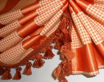 Woven Orange Stripe Valance for French Door