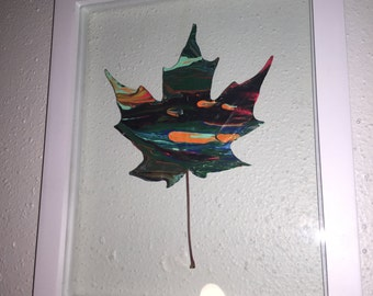 UV Reactive Hand-Painted Maple Leaf - Framed