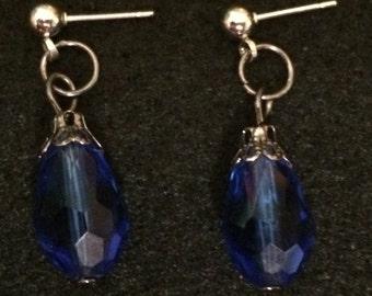 Cobalt Blue Tear-Drop Earring