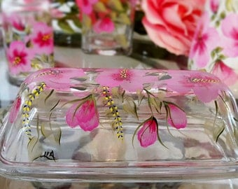 Glass Butter Dish Pink Flowers Kitchen Collection by Lia
