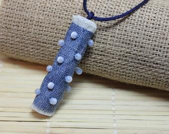Jeans Boho Pendant,Blue  necklace, Jeans Necklace, Bohemian Jewelry