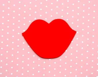 Paper lips, READY TO SHIP in 1-2 days, Lips die cut, 10 pcs, Red lips, Bridal shower decor, Photo prop lips, Lips on a stick, Bridal party