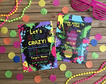 Digital Party Invitation - Customizable - Neon Party - Glow-in-the-Dark Party