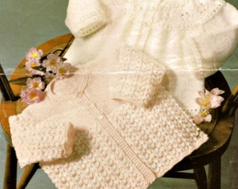 Knitting Pattern  baby matinee jacket cardigan PDF Instant Download Nr.99