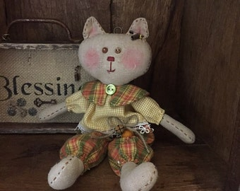 Handmade Primitive Meow Kitty Doll