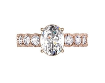 Unique Vintage Style Oval Engagement Ring with Fine Milgrain Detail, Rose Gold Engagement Ring, Rose Gold Ring, Vintage Ring