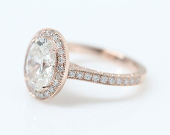 Vintage Style Oval Diamond Halo Engagement Ring, Vintage Style Setting, Rose Gold Ring