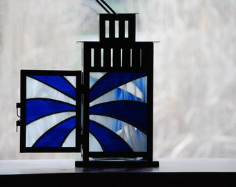 Sunburst Lantern in Cobalt Blue and White Cloud stained glass