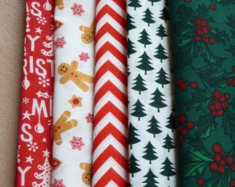 STUDIO JEPSON FABRICS Classic Christmas fabric bundle x 5 fabrics