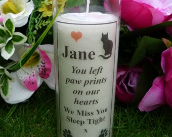 Pet Memorial Candle - Personalised - Wording of your choice - Cat Design