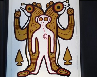 Very rare First Nations Ahmoo Angeconeb acrylic painting by famed Woodland Native Artist