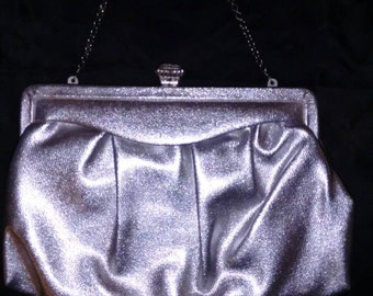 Vintage 1960's Miss Lewis Silver Metallic Evening Bag with Jewel Clasp