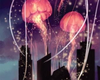 Jellyfish in the Sky Print, Pillowcase