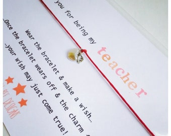 Wishing Bracelet 'Thank You For Being My Teacher' Gift
