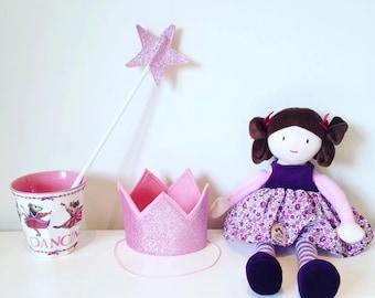 Girls pink glitter mini crown