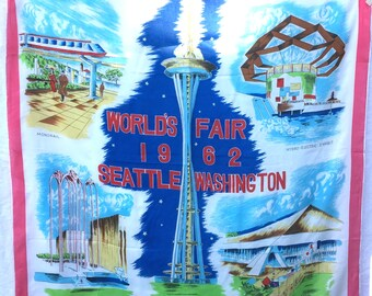 Vintage Souvenir scarf, Seattle World's Fair 1962, rayon/silk.
