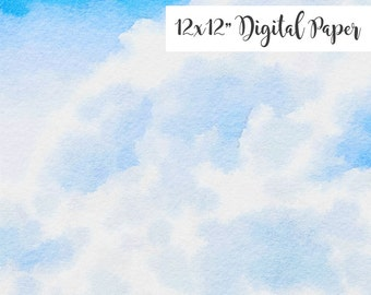 Watercolor Sky, Clouds, 12x12, Watercolor Digital Background, Scrapbook Paper Download
