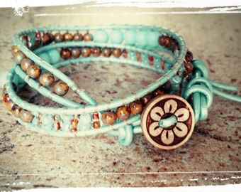 Athens - Beaded Leather Wrap - Mint Leather with Czech Beads & Seed Beads -Coconut Button - Double Ladder Bracelet/Boho Wrap/ Surfer/Tribal