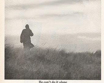 Antique 1963 U.S. Army USO Military Soldier Recruiting Original Print Ad