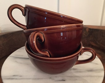 Vintage Chocolate Brown Early California Authentic Vernonware Vernon Kilns Teacups | Set of 3