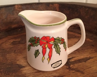 Vintage Inarco Hand Painted Christmas Themed Creamer Pitcher | Christmas in July