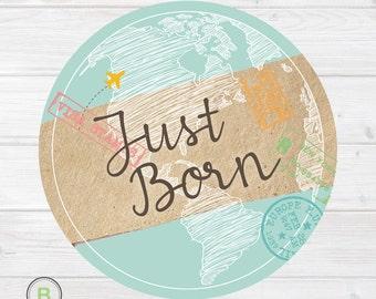 Newborn Monthly Baby Sticker - Just Born - Travel Inspired Design by Baby Lookback