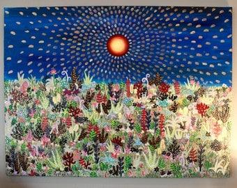 Large Original Landscape Painting, Vibrant Horizion Acrylic Painting, Surreal Painting, Plants And Flowers Artwork, Garden Art
