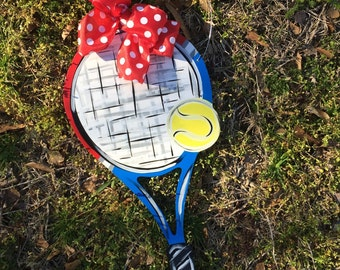 Tennis Racket and Tennis Ball Door Hanger Tennis Door Sign Sports Door Hanger