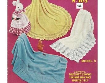 3 baby Shawls Knitting Pattern