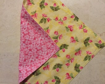 Two Double-Sided Cloth Fabric Lunch Napkins Reusable Washable