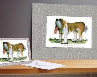 Fun St Bernard Gift Print and greeting card