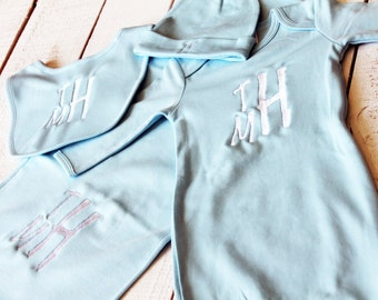 Embroidered Baby Gown Set -- Coming Home Outfit, Baby Shower Gift, Baby Layette