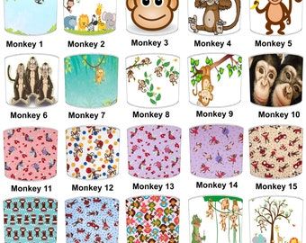 Monkey Print Childrens Lamp shades, To Fit Either a Table Lamp base or a Ceiling Light Fitting.