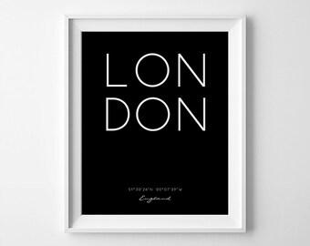 London Print, London Minimalist Art, London Coordinates, City London Print, Printable London Art, Custom Coordinates